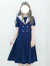 Tenue Lolita de style marin bleu haut de baleine de mer profonde brodée haut à manches courtes avec jupe plissée