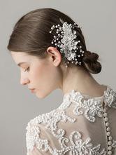 Pente de casamento Prata Headpieces Rhinestone Pearls Acessórios para o cabelo nupcial