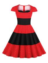 Vestido vintage rojo 2019 Vestido retro de lunares de los años cincuenta Vestido de manga corta de verano