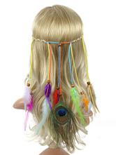 Boho Headpieces Peacock Feathers Braided Hippie Headband Summer Beach Women Hair Accessories Halloween