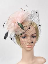 Plumes Fascinator Chapeau Vintage Headpieces Maille Femmes Halloween Costume De Carnaval Accessoires