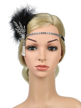 Flapper Headpieces 1920s Grande Gatsby Headband Mulheres Pena Strass Pérola Retro Acessórios Para o Cabelo Halloween