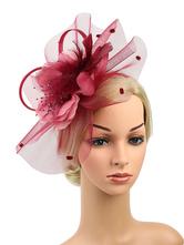 Fascinator Chapeau Femmes Dot Perles Maille Plume Bourgogne Rétro Headpieces Halloween