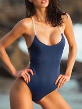 Mujer Monokini Trajes de baño Halter Sin mangas Color sólido Verano Playa Traje de baño