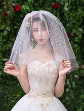 Véu de noiva curto de quatro camadas net tule corte borda véu de noiva clássico