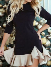 Черное облегающее платье с длинными рукавами и оборками Двухцветные сексуальные платья