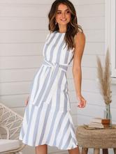 Vestidos de verão Mulheres Faixa listrada Sem mangas Recorte Vestido curto