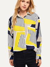 Полосатая рубашка с длинным рукавом и карманами