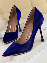 Blue High Heels Satin Pointed Toe Evening Shoes Stiletto Heel Pumps