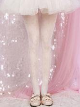 White Lolita Stocking Floral Jacquard Pantyhose Velvet Lolita Accessories