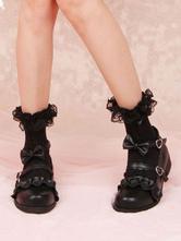 Collants noirs Lolita Bow Ruffles Chaussettes en dentelle Coton Accessoires Lolita Déguisements Halloween