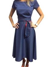Vintage Summer Dress Blue Polka Dot Audrey Hepburn Short Sleeves Sash Retro Midi Swing Dress