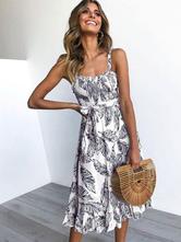 Women Summer Dresses Short Leaf Printed Straps Sash Ruffles Beach Slip Dress