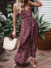 Robe d'été florale Femme Split Maxi Hawaiian Dress