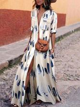 Oversized Shirt Dresses White Turndown Collar Feather Print Half Sleeves Maxi Dress