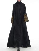 Black Abaya Dress Muslim Women Dress Beading Open Front Long Sleeve Arabian Clothing
