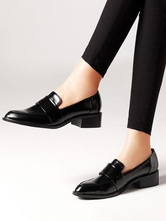 Women Black Loafers Pointed Toe Slip On Shoes Casual Shoes