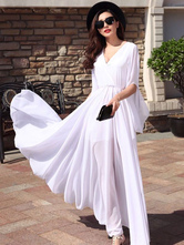 Chiffon Beach Dress Mulheres Maxi Vestido V Neck Sleeved Summer Dress