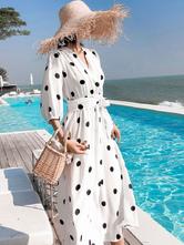 Polka Dot vestido Maxi Sash mangas vestido de praia das mulheres