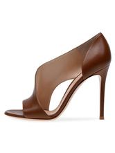 Сандалии на высоком каблуке Коричневый Peep Toe Slip On Классическая обувь для женщин