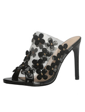 High Heel Mules Black Peep Toe Flowers Detail Backless Sandal Shoes For Women