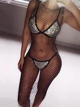 Maxi Club Dress Rhinestone Sexy Body Chain Glitter Jewelry