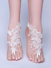Beach Wedding Footwear White Lace Flowers Detail Ankle Bracelet