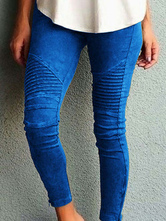 Pantaloni skinny da donna con tasche in vita naturale