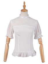 Sweet Lolita Blouses The Fox Kingdom Lolita Top White Short Sleeves Buttons Lolita Shirt