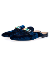 Mens Blue Loafers Shoes Slip On with Rhinestones Round Toe Velvet Slipper Shoes