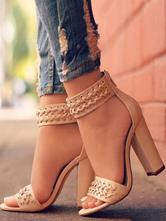 Sandálias De Salto Alto Mulheres Aberta Dedo Do Pé Grommets Detalhe Tira No Tornozelo Sandália Sapatos Bloco De Salto Sandália Sapatos