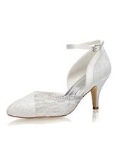 54bc9aa16b2664 Chaussures de Mariée 2019 Dentelle Ivoire Bout Pointu Strass Sangle de  Cheville