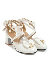 Sweet Lolita Footwear Bow Lace High Heel PU Leather Lolita Pump Shoes