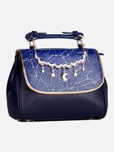Classic Lolita Bag Constellation Galaxy Print Blue Leather Lolita Handbags