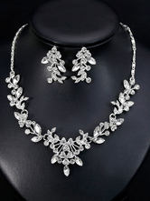 Wedding Jewelry Set Silver Rhinestones Necklace With Earrings