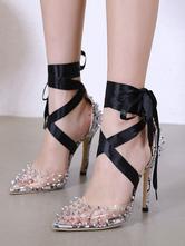 Sapatos De Mulheres De Salto Alto 2020 Transparente Dedo Apontado Rebites Rendas Até Bombas