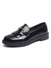 Carnaval Carnaval Zapatos de uniforme escolar Franja negra Metálico Punta redonda Patentes superiores de Carnaval