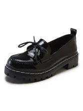 Carnaval Carnaval Zapatos de uniforme escolar Bowknot negro punta redonda patente bombas superiores Carnaval