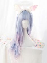 Sweet Lolita Wig Harajuku Unicorn Baby Blue Blunt Bang Lolita Hair Wigs