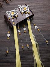 Chinese Style Lolita Headdress Butterfly Ribbons Beading Han Lolita Headwear