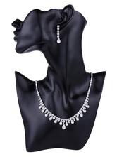 Bridal Jewelry Set Silver Rhinestones Wedding Accessories