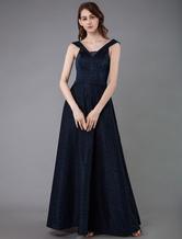 Темно-синее вечернее платье 2020 A Line Sash Рукава длиной до пола, вечерние платья