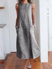 Oversized Maxi Dresses With Pockets Stripes Sleeveless Women Long Summer Dress