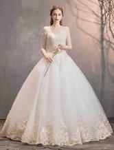 Principessa Abiti da sposa Avorio in pizzo Applique Off the Shoulder Mezza manica piano abito da sposa