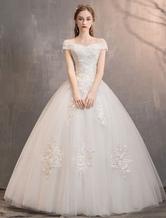 Marfil vestidos de novia de tul fuera del hombro apliques de encaje palabra de longitud princesa vestido de novia