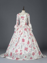 Victorian Dress Costume Women's Ivory Matte Satin Floral Print Bow Ball Gown Dress Marie Antoinette Long Sleeves Victorian Era Style Vintage Costume Halloween