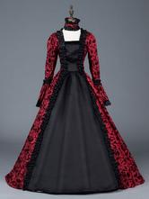 Trajes Retro Vermelho Mulheres Bow Floral Imprimir Vestido de Cetim Fosco Estilo Era Vitoriana vestido de Baile Halloween