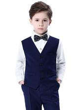 Anillo trajes de algodón mangas largas Cravat chaleco pantalones camisa negro Wedding Boy Suits 4 unids