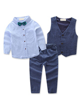 Ring Bearer Suits Cotton Long Sleeves Shirt Pants Waistcoat Blue Formal Party Suits 3pcs