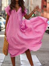 Oversized Summer Dress V Neck Women Maxi Beach Dress